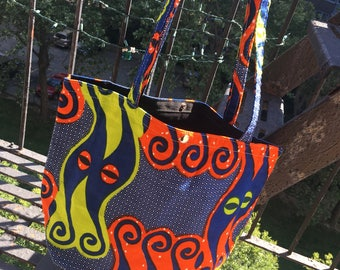 Mali African Print Cotton Tote Bag, Orange Blue Wax Cloth Shopping Bag