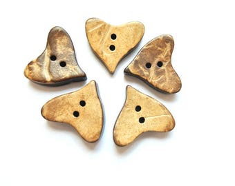 10 Buttons coconut shell buttons heart shape about 17mmX16mm