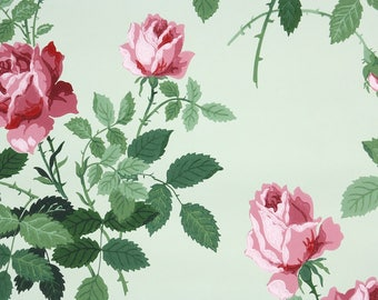 1940s Vintage Wallpaper by the Yard - Floral Wallpaper with Pink Roses on Green