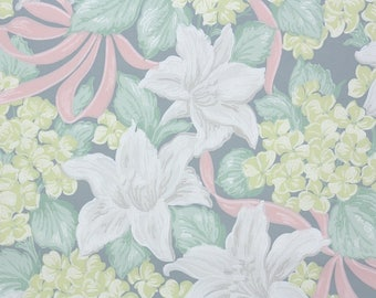 1940s Vintage Wallpaper by the Yard - Floral Vintage Wallpaper White Gray Lilies Yellow Hydrangeas and Pink Ribbon Green Leaves on Blue-Gray