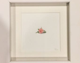 FRAMED Miniature Painting of a pink rose by Brooke Rothshank