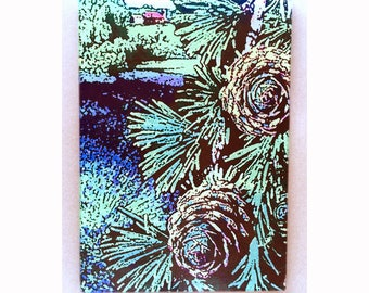 Pinecones glass cutting board, pines cutting board, lavender, Pinecones art,pines glass art, pinecones trivet,tempered glass pinecones