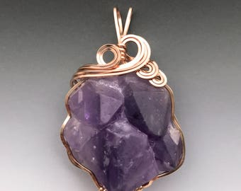 Amethyst Crystal Cluster 14k Pink Rose Gold Filled Wire Wrapped Pendant - Ready to Ship!