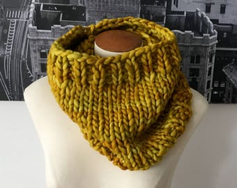 hand-knit chunky cowl - hand-dyed gold