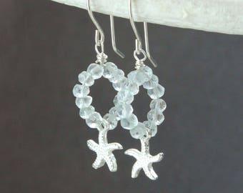 Aquamarine Hoop Earrings  Sterling Silver  Gemstone Jewelry  March Birthstone Starfish  Earrings  Made For Women Beach Jewelry