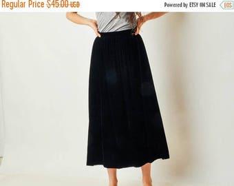 SALE - Vintage Full Black Velvet Skirt