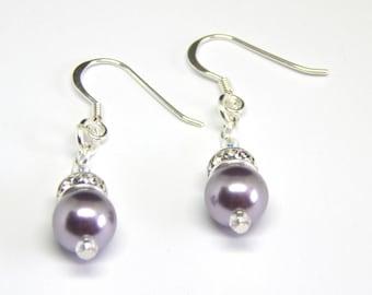Dusky Purple Pearl Crystal Earrings - Mauve Purple - Pale Purple Pink Pearl Earrings - Swarovski Elements - Pearl & Crystal Earrings