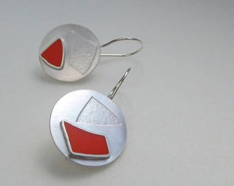 Orange Mis-match Earrings - Round Orange Earrings - Geometric Earrings - Handmade Textured Silver Earrings - Abstract Drop Earrings - Gem