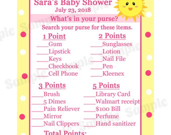 24 Baby Shower Game Cards  Whats In Your Purse Game  - PINK You Are My Sunshine Baby Shower - Sunshine Baby Shower  - Purse Game