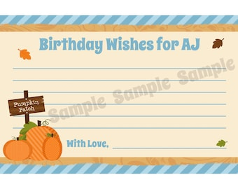 24 Personalized Birthday Advice Cards -  Pumpkin Patch - Fall Party - Any age - Custom Personalization