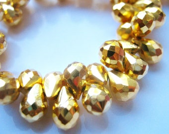 1/2 Strand of Gorgeous Gold Pyrite Faceted TearDrop Briolette Beads 6mm-7mm semi precious gemstones
