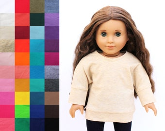 Fits like American Girl Doll Clothes - Long Sleeve Banded Dolman Slouchy Tunic, You Choose Color