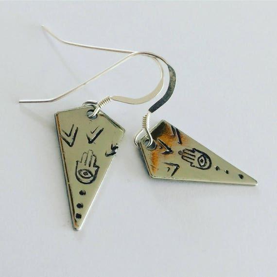 Silver Tone Diamond Shape Hamsa Hand Fatima Reiki Inspired Earrings - Festival - Mystical -