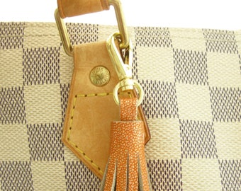 Metallic Tassel, Orange Leather Tassel, Fall Purse Charm, Fall Leather Tassel, Autumn Keychain, Gold Key Fob, Clip On Handbag Tassel