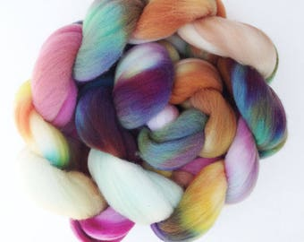 """Targhee Wool Spinning Fiber, 4 oz, """"Aloha"""" Hand-dyed Kettle Dyed Combed Top"""