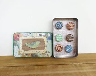 Ceramic Magnet Set, Rustic Clay Fridge Magnet Set of 6, Housewarming Gift, Office Decor