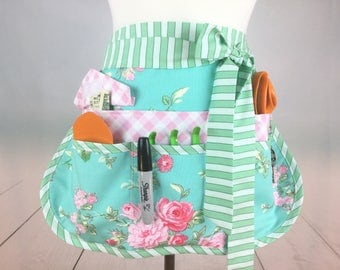 Rosewater Garden Romance Sassy Teacher Apron, Half Apron with 6-8 Pockets, Misses, Plus Sizes, Vendors, Gardening, Utility, Teachers, Crafts