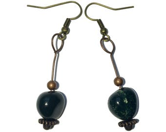 Bloodstone Earrings 23 - Green Nugget Antiqued Brass