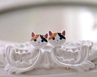 Calico Kitty cats  Earrings cute kawaii