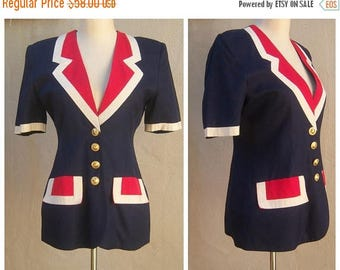 30% MOVING SALE Evelyne Mandel, Ambiance, Paris / French designer / Vintage womens jacket / red white blue patriotic dress suit jacket FR 38