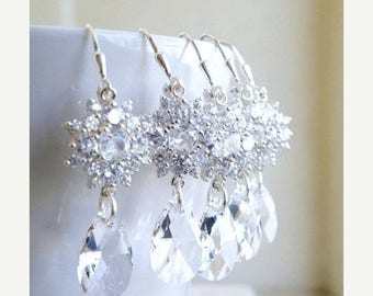 Summer Sale Swarovski Crystal Cushion CZ Sterling Silver Earrings 3 pairs