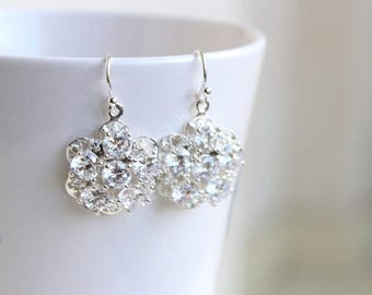 Summer Sale Bridal Earrings Cubic Zirconia Floral CZ Sterling Silver AE1B