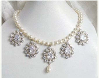 Summer Sale Bridal Necklace Ivory Swarovski Pearl Cubic Zirconia Silver Necklace BN4