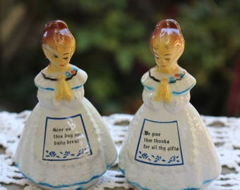 Vintage 1960's Era Blue and White Plastic Prayer Girls Salt and Pepper Shakers Made in Hong Kong
