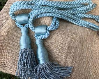 Pair of Vintage 1970's Era Blue Tassel Curtain or Drapery Tie Backs