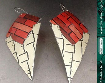 Tribal Tin Dangle Earrings | Recycled Jewelry | Tin Jewelry | Geometric Earrings | Vintage Tin | Designer Earrings | Art Jewelry | Modern