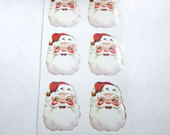 Vintage Santa Claus Christmas Gummed Seals Stickers or Labels by J. L. Hammett Co. Set of 32