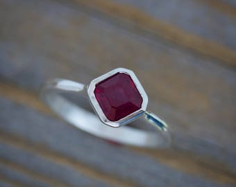 Asscher Ruby Solitaire Ring, Recycled Silver Ring, Green Design, July Birthstone Ring, Octagonal Ruby Ring