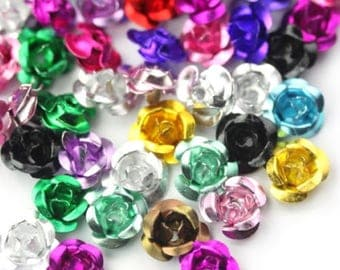 Beads Aluminum Flowers - Rose Mixed Colors 7mm - 8mm (50) M023