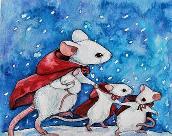 Winter traveling mouse mom and babies  - Original Watercolor Painting by Fanny Dallaire