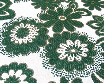 XL vintage curtain fabric / 3 yards wide! / green flowery upholstery fabric / 1970s / unused on the bolt / retro / vintage fabric