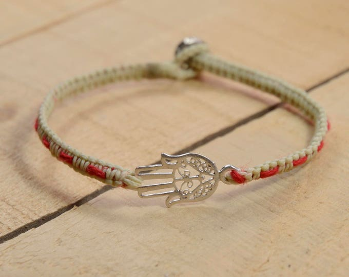 Antique Hamsa Charm with Red String Inside Woven Bracelet