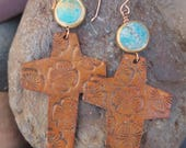 Leather Cross Earrings - Floral - Copper - Turquoise - Brown Leather - Western Jewelry - Cowgirl Jewelry