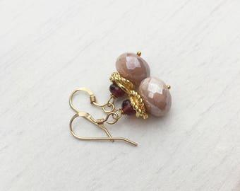 Peach Moonstone Garnet Earrings, Small moonstone earrings,gold small earrings,dainty peach earrings,small red earrings,gift for her, bridal