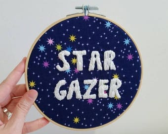 Star Gazer hand embroidered hoop art / wall art home decor