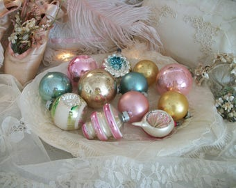 12 assorted old glass christmas tree ornaments, soft pastel colors, silver, gold, gorgeous true vintage patina of age, shiny brite, germany