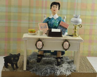 Dorothy Parker Doll Diorama Miniature Author