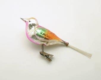 Vintage Christmas Glass Ornament Large Clip On Bird Christmas Decoration