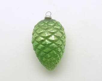 Vintage Christmas Ornament Green Glass Pine Cone