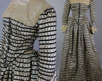 Antique Victorian 1889 silk day dress Marshall Field label