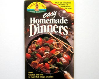 Vintage Book - Easy Homemade Dinners Cookbook - 1993 - Land O Lakes, Cooking, Recipes, Soft Cover, Collectible, Dining, Entertaining