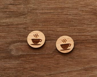 8 pcs Coffee or Tea Wooden Charm, Carved, Engraved, Earring Supplies, Cabochons (WC 202)