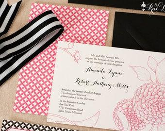 Modern Summer Garden Wedding Invitations- Pom Pom Dahlia Invitation