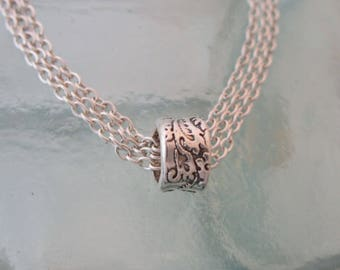 Mixed Metal Silver and Gold Handcrafted Floral Bead on Chain Necklace
