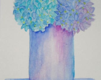Watercolor Hydrangeas Card Watercolor Hydrangea Watercolor Flowers Greeting Cards Hand Painted Cards