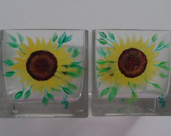 Sunflower Candle Holders Sunflower Votives Hand Painted Sunflower Candle Votives Sunflower Glass Candle Holders Set of 2 Sunflowers